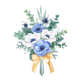 Beautiful flower bouquet with white and blue anemone flowers