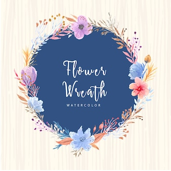 Beautiful flower and branches watercolor wreath card