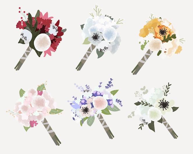 아름 다운 꽃 신부 웨딩 부케 컬렉션 플랫 스타일
