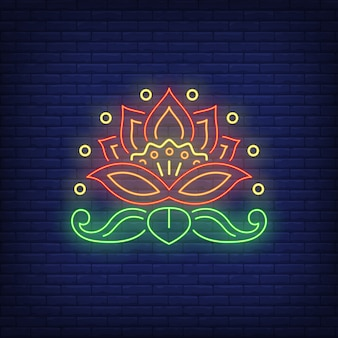 Beautiful flower emblem neon sign