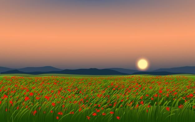 日没の美しい花畑