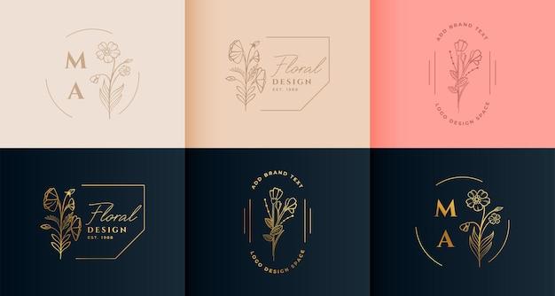 Коллекция красивых цветочных цветочных логотипов в минималистском стиле