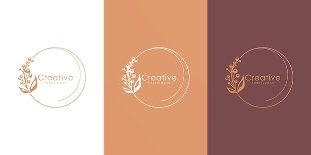 최소한의 스타일로 아름다운 꽃 꽃 로고 타입 컬렉션