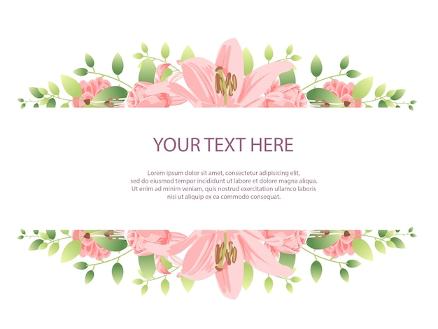 Beautiful flower frame background with pink flower