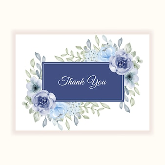 Beautiful flower frame blue for thanks card