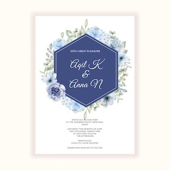 結婚式招待状の美しいフラワー フレーム ブルース