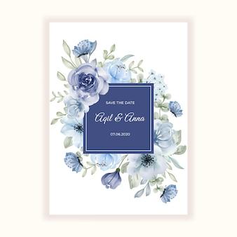 청첩장을위한 아름다운 꽃 프레임