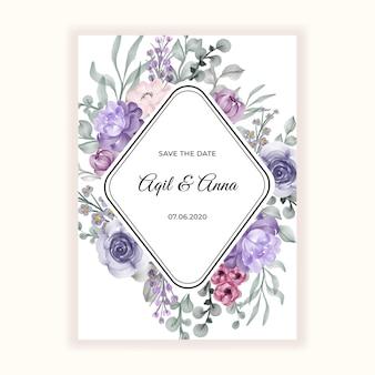 結婚式招待状の美しいフラワー フレーム
