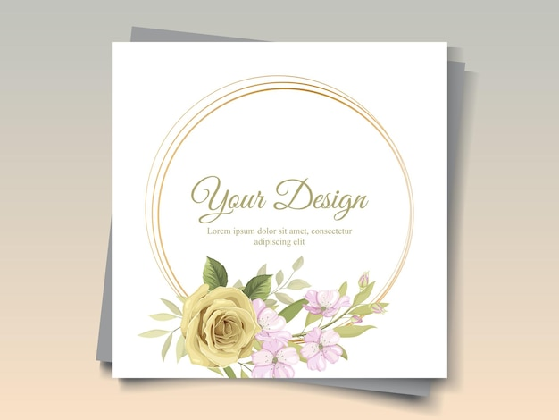 Beautiful flower frame for greeting card ornament
