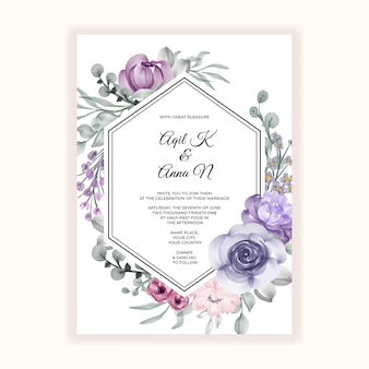 Beautiful flower frame for wedding invitation
