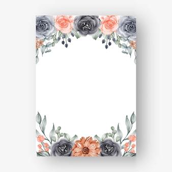 Красивая цветочная рамка с темно-синим и персиковым цветами