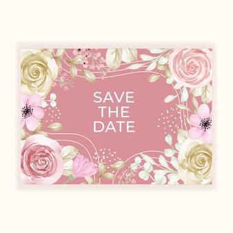 컬러 파스텔 핑크 골드와 아름다운 꽃 프레임