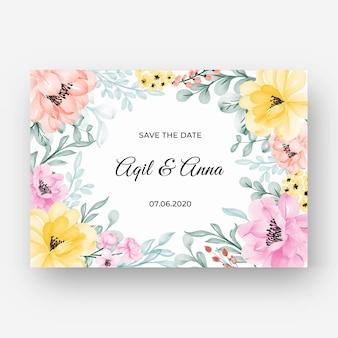 Красивая цветочная рамка с пастельно-розовым желтым цветом