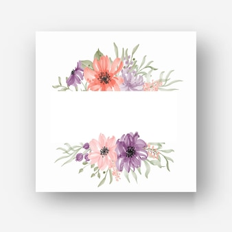 수채화 꽃과 아름 다운 꽃 프레임