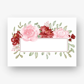 Beautiful flower frame with watercolor flower