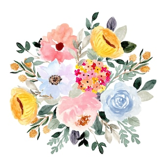 Beautiful flower garden watercolor arrangement