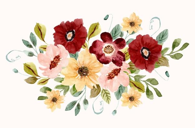 Красивый цветник акварель композиция