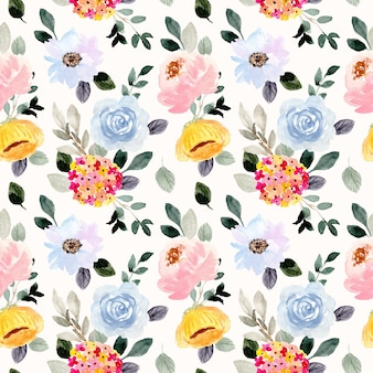 Beautiful flower garden watercolor seamless pattern