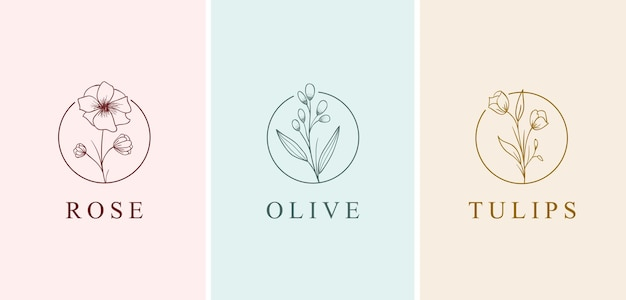Beautiful flower hand drawn style logo collection set