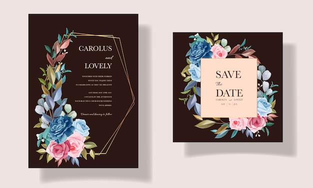 Beautiful flower and leaves invitation card set