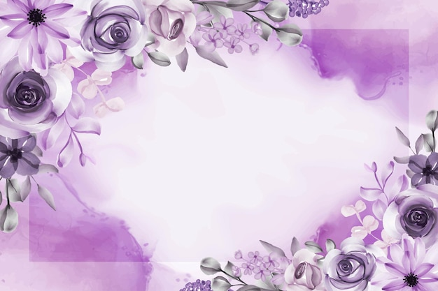 Beautiful flower and leaves purple background