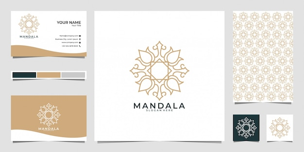Beautiful flower line art logo design, pattern and business card