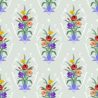 美しい花飾りシームレスパターン。