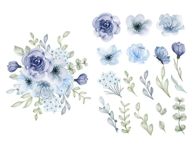 Beautiful flower pink violet watercolor isolated clip art