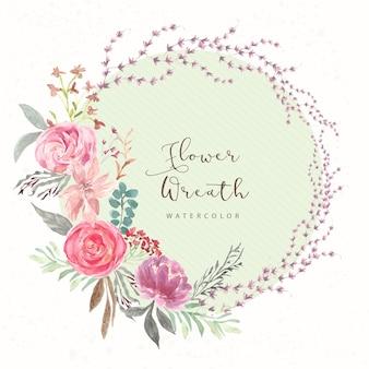 美しいフラワーローズ水彩花輪