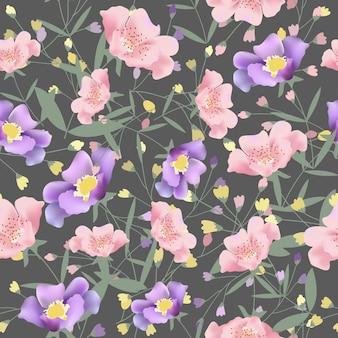 美しい花のシームレスなパターン。
