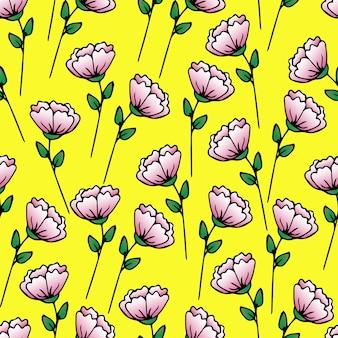 美しい花シームレスパターン葉と春の小枝花ベクトル花手描き