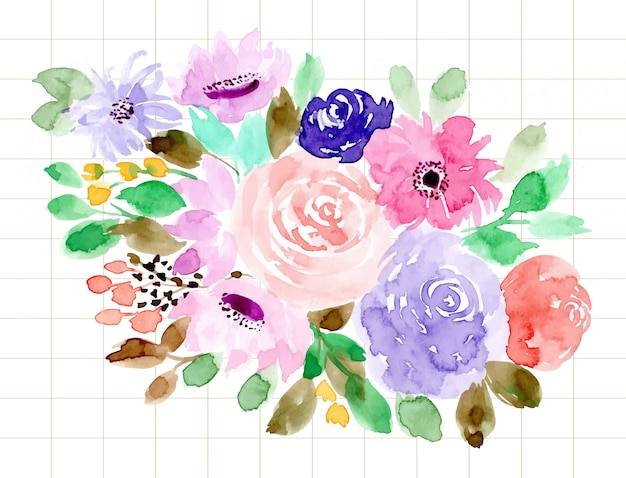 아름다운 꽃 수채화 배경