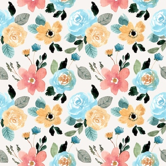 Beautiful flower watercolor seamless pattern