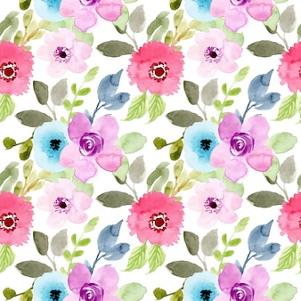 Beautiful flower watercolor seamless pattern