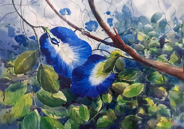 美しい花の水彩スケッチ手描きイラスト