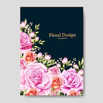 Beautiful flower wedding card template