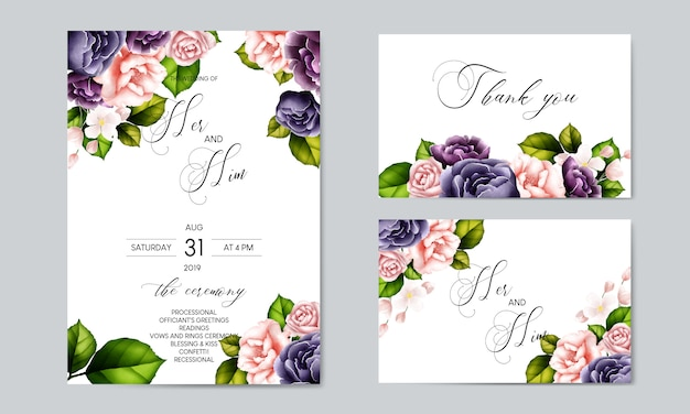Beautiful flower wedding card template