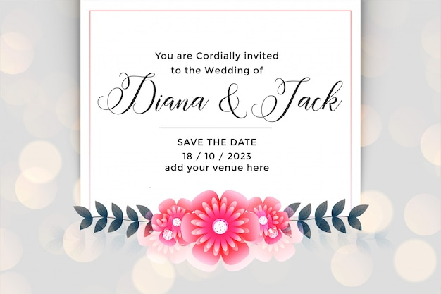 Beautiful flower wedding invitation card