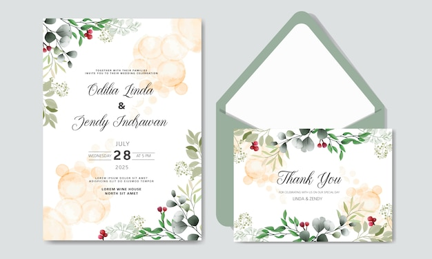 Beautiful flower wedding invitation cards