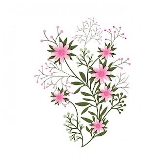 Красивый цветок с изолированной иконой листьев