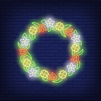 Beautiful flower wreath neon sign