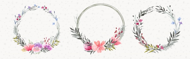 Beautiful flower wreath watercolor collection
