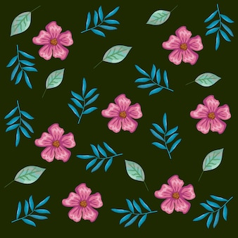 Beautiful flowers and leafs decorative pattern