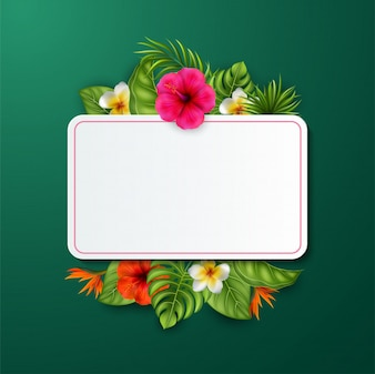 Beautiful flowers and leaves with blank sign