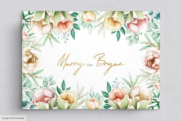 美しい花の花束と花輪の水彩画