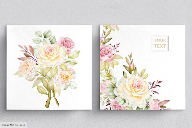 아름 다운 꽃 꽃다발 수채화 세트
