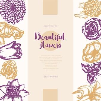 美しい花-コピースペース付きのカラーベクトル手描き合成バナー。リアルなバラ、スズラン、チューリップ、デイジー、アイリス、ユリ、菊、カーネーション、ポピー、水仙。