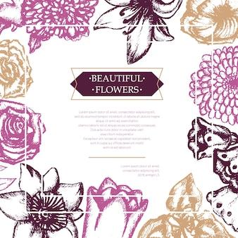 美しい花-コピースペース付きのカラーベクトル手描き複合チラシ。リアルなバラ、スズラン、チューリップ、デイジー、アイリス、ユリ、菊、カーネーション、ポピー、水仙。