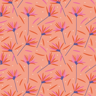 Beautiful flowers in coral colors seamless pattern.