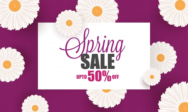 Beautiful flowers decorated spring sale poster